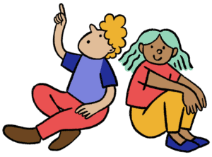 Illustration of people sitting and pointing