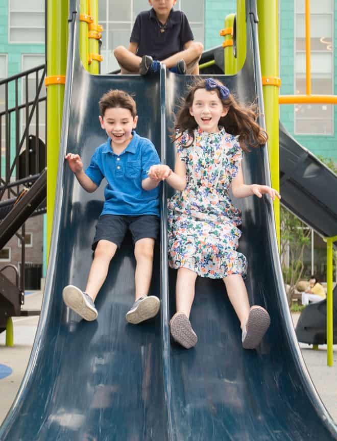 Kids on slide Brookline